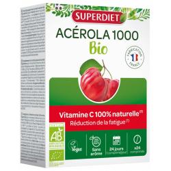 Acérola 1000 BIO 24 comprimés Super Diet vitamine C naturelle Bio sante senior