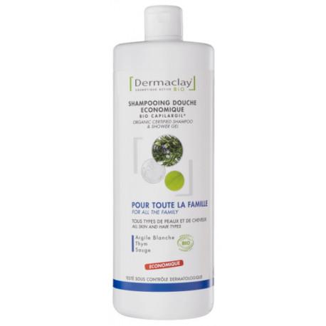 Shampooing Douche économique Argile blanche Thym Sauge 1L Dermaclay shampoing familial Bio santé sénior