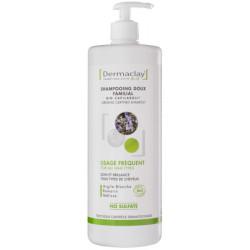 Shampoing doux familial usage fréquent Argile blanche 1 litre Dermaclay shampoing bio santé sénior