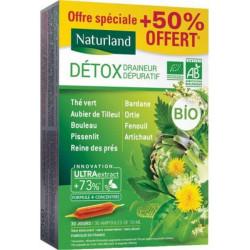 Détox Draineur Dépuratif Bio 9 plantes 20 ampoules de 10ml + 50 % offert Naturland minceur draineur Bio sante senior