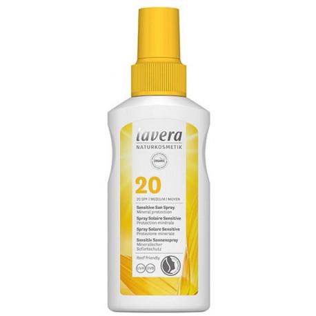 Spray solaire sensitive SPF 20 100 ml Lavera protection uv moyenne Bio sante senior