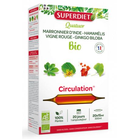 Quatuor Marronnier d'Inde Hamamélis Bio Vigne rouge Ginkgo 20 ampoules de 15ml Superdiet Bio sante senior