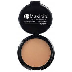 Poudre compacte Dorée 9 gr Makibio maquillage bio et minéral teint bonne mine Bio sante senior