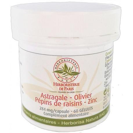 Astragale Olivier Pépins de raisins Zinc 60 gélules Herboristerie de paris antioxydant télomères Bio sante senior