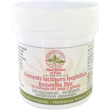 Ferments lactiques lyophilisés Boswellia Zinc MICI 60 Gélules Herboristerie de paris entretien cellulaire intestinale