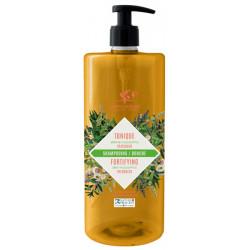 Shampoing douche Tonique 2 en 1 Menthe Eucalyptus 1L Cosmo Naturel vitalité et fraicheur Bio sante senior