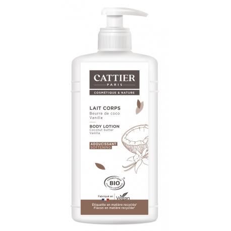 Lait adoucissant Vanille Extrait de coco 500 ml Cattier- lait hydratant corps Bio sante senior