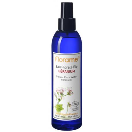 Eau florale de Géranium Bio Brumisateur 200ml Florame astringent et purifiant Bio sante senior