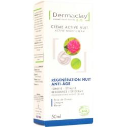 Crème active nuit régénération anti âge 50 ml Dermaclay peaux matures et dévitalisées Bio sante senior