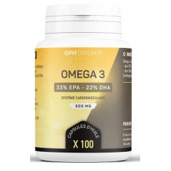 Omega 3 100 capsules de 505mg GPH Diffusion coeur circulation Bio santé sénior