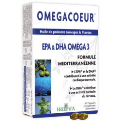 Omegacoeur EPA DHA Ail 60 capsules Holistica oméga 3 ail germe de blé Bio santé sénior