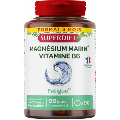 Magnesium marin Vitamine B6 90 comprimés Super Diet nervosité anxiété Bio santé sénior