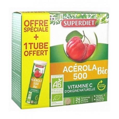 Acérola 500 bio 1 tube OFFERT 36 comprimés Super Diet Bio santé sénior