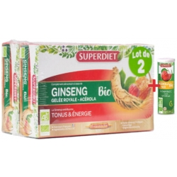 Ginseng Gelée Royale Acérola bio 40 ampoules avec 1 acerola gratuit Super Diet
