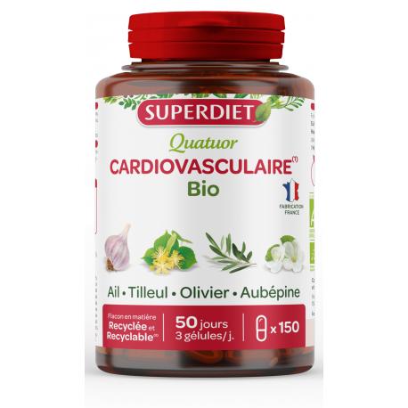 Quatuor Ail Cardiovasculaire Bio 150 gélules Ail, Olivier, Tilleul et Aubépine Bio santé sénior