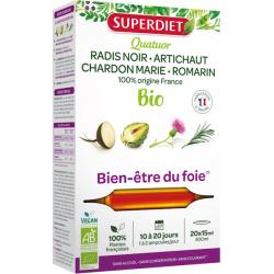 Quatuor Radis Noir Artichaut Chardon Marie Romarin 20 Ampoules Super Diet