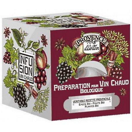 Préparation bio pour Vin chaud Recharge de 24 sachets Provence d'Antan boisson épicée revigorante Bio santé sénior