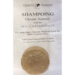 Shampoing solide Cheveux normaux 100 pour cent végétal 60 gr Terres dorées ecologique economique Bio santé sénior