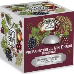 Préparation pour vin chaud bio cube 24 sachets Boite métal Provence d'Antan tradition des montagnes Bio santé sénior