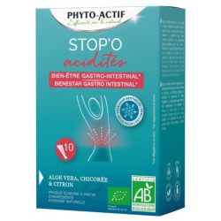 Stop'O acidités 10 sticks buvables Phyto-actif acidité reflux acide équilibre Bio santé sénior