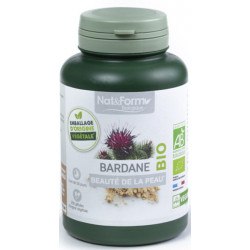 Bardane bio 200 gélules 250mg - Nat et Form racine de bardane beauté de la peau Bio sante senior