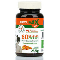Curcumaxx C Plus 60 gélules Bio 95 pour cent Biocible curcuma pipérine gingembre bio santé sénior