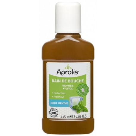 Bain de bouche Propolis et Xylitol goût Menthe 250ml Aprolis gencives plus saines Bio santé sénior