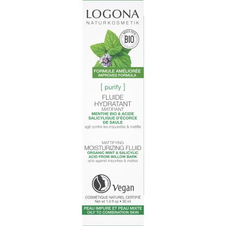 Fluide hydratant et matifiant menthe bio et acide salicylique 30ml Logona