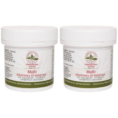 Lot de 2 Multi Vitamines Minéraux 2x60 gélules 2 mois de cure Herboristerie de paris 2 mois de cure Bio santé sénior