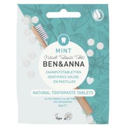 Dentifrice solide  goût menthe 100 pastilles sans fluor 36 gr Ben et Anna dentifrice solide familial Bio santé sénior