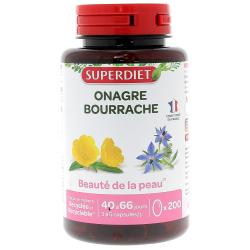 Huile d'Onagre bio Bourrache bio 200 capsules Super Diet