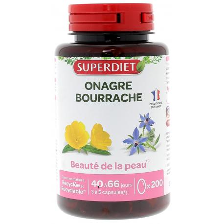 Huile d'Onagre bio Bourrache bio 200 capsules Super Diet acide gamma linolénique Bio santé sénior