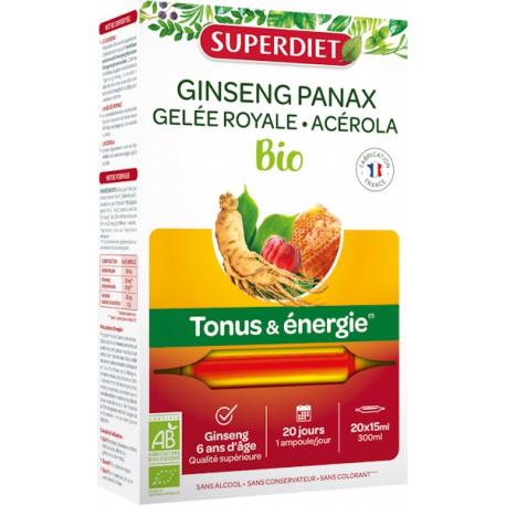 Ginseng Gelée Royale Acérola bio 20 ampoules de 15ml Super Diet renforce la vitalité Bio santé sénior