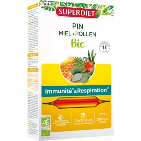 Sève impériale défenses confort respiratoire Bio 20 ampoules Super Diet défenses immunité gelée royale Bio santé sénior