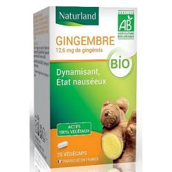 Gingembre bio - 75 gélules végécaps - Naturland poudre et extrait bio santé sénior