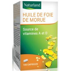 Huile de foie de morue - 100 capsules - Naturland - Biosantesenior.fr