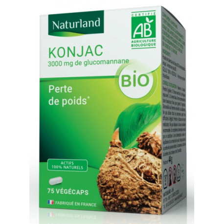 Konjac bio glucomananne 75 gelules vegecaps - Naturland perte de poids Bio sante senior