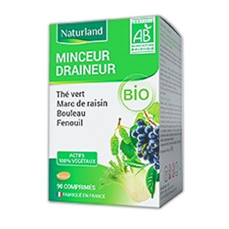 Minceur Draineur Thé vert minceur, marc de raisin, bouleau, queue de cerise BIO, Naturland, biosantesenior.fr