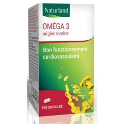 Oméga 3 180 Capsules de 520mg Naturland fonction cardiovasculaire Bio santé sénior