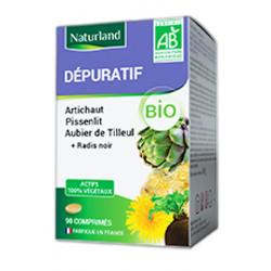 Dépuratif, aubier de tilleul, radis noir, pissenlit, artichaut, 90 comprimés Naturland,biosantesenior.fr