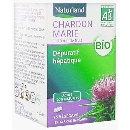 Chardon Marie bio 75 gélules Végécaps - Naturland dépuratif hépatique Bio santé sénior
