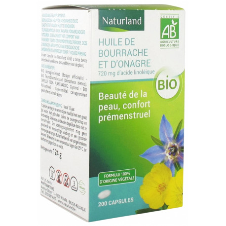 Huile de Bourrache Huile Onagre 200 capsules Naturland acides gras essentiels Bio santé sénior