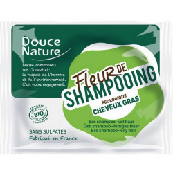 Fleur de Shampooing solide cheveux gras Ortie Karité Argile verte 85gr Douce Nature pureté nutrition Bio santé sénior