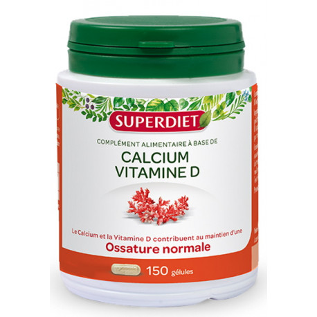 Calcium marin Vitamine D 150 gélules Super Diet minéralisation défenses naturelles Bio santé sénior