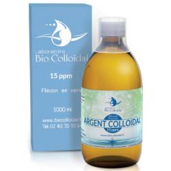 Argent Colloïdal 15 PPM 1 Litre Bio Colloïdal, oligo-éléments, bio sante senior usage externe