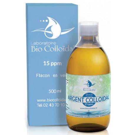 Argent Colloïdal 15 PPM 500 ml Bio Colloïdal, oligo-éléments, bio santé senior usage cosmétique