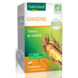 Ginseng Panax BIO 75 gélules - Naturland, biosantesenior.fr