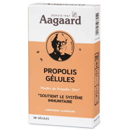 Propoline Propolis Zinc 30 gélules Aagaard 1500mg de propolis par jour Bio santé sénior