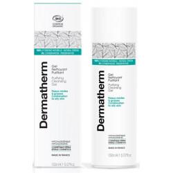 Gel nettoyant Purifiant peaux mixtes et grasses 150 ml Dermatherm eau de mélisse aloé vera Bio santé sénior