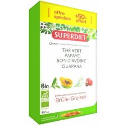 Quatuor Thé vert Papaye son d'avoine guarana 30 ampoules de 15ml 3 semaines 1 offerte Super Diet